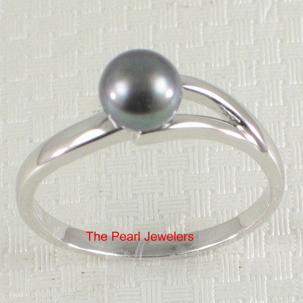 Solid Sterling Silver 925 Black Freshwater Cultured Pearl Solitaire Ring