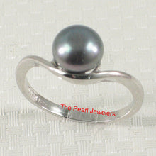 Load image into Gallery viewer, 925 Sterling Silver Divot-Design Freshwater Cultured Pearl Solitaire Ring Size 5