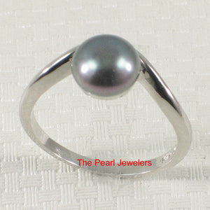 925 Sterling Silver Divot-Design Freshwater Cultured Pearl Solitaire Ring Size 5