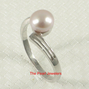 Solid Sterling Silver .925 Pink Freshwater Cultured Pearl Solitaire Ring