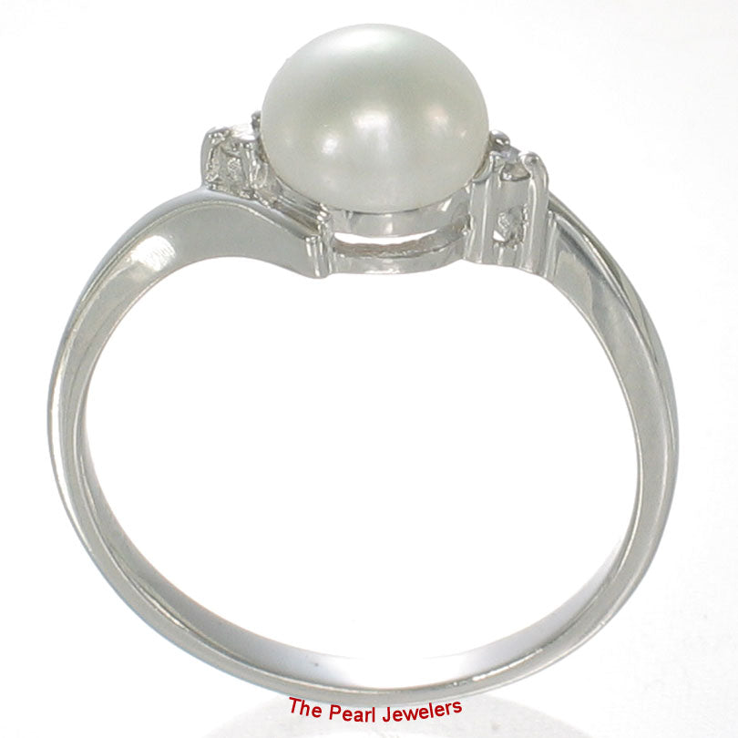 Sterling Silver 925 White Pearl w/ Cubic Zirconia Solitaires with Accents Ring