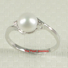 Load image into Gallery viewer, Sterling Silver 925 White Pearl w/ Cubic Zirconia Solitaires with Accents Ring