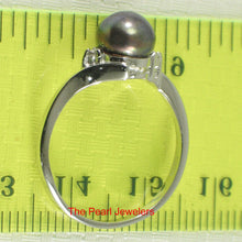 Load image into Gallery viewer, Solid Silver .925 Black Pearl w/ Cubic Zirconia Solitaires w/ Accents Ring