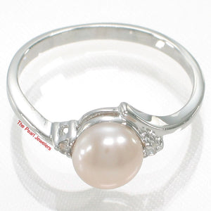 Solid Silver .925 Pink Pearl w/ Cubic Zirconia Solitaires with Accents Ring