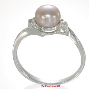 Solid Silver 925 Lavender Pearl w/ Cubic Zirconia Solitaires w/ Accents Ring