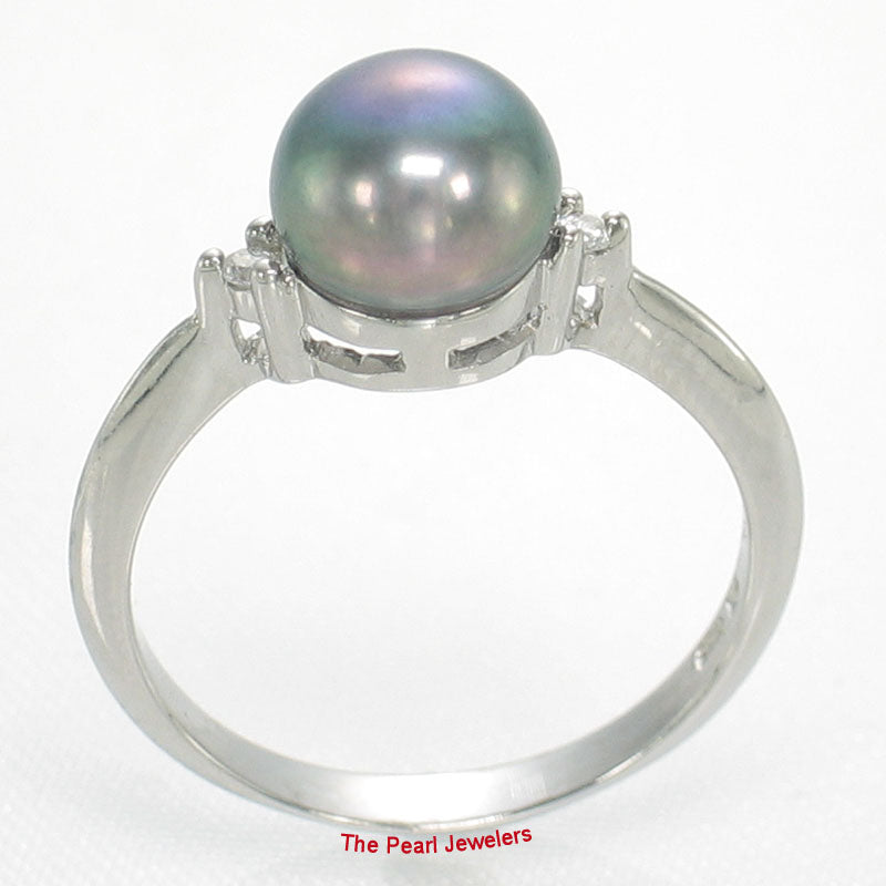 Solid Silver 925 Black Pearl; Cubic Zirconia Solitaires with Accents Ring