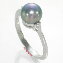 Load image into Gallery viewer, Solid Silver 925 Black Pearl; Cubic Zirconia Solitaires with Accents Ring