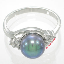 Load image into Gallery viewer, Solid Silver 925 w/ Cubic Zirconia; 8-9mm Black Cultured Pearl Cocktail Ring