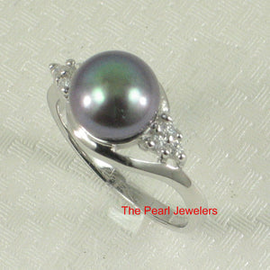 Solid Silver 925 w/ Cubic Zirconia; 8-9mm Black Cultured Pearl Cocktail Ring