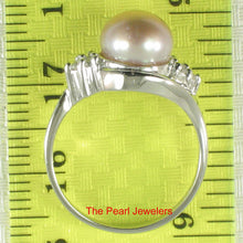 Load image into Gallery viewer, Solid Silver .925 w/ Cubic Zirconia; 8-9mm Lavender Cultured Pearl Lady Ring