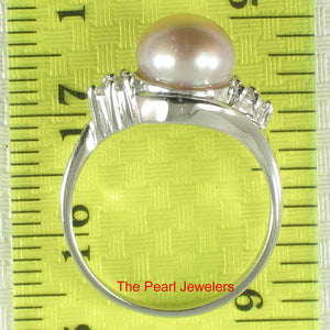 Solid Silver .925 w/ Cubic Zirconia; 8-9mm Lavender Cultured Pearl Lady Ring