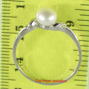 Solid Sterling Silver 925 White Freshwater Cultured Pearl Solitaire Ring