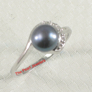 Black Cultured Pearl Ring Solid 925 Silver w/ Crescent Cubic Zirconia Design
