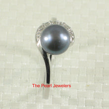 Load image into Gallery viewer, Black Cultured Pearl Ring Solid 925 Silver w/ Crescent Cubic Zirconia Design