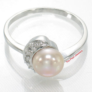 Solid Sterling Silver 925, White Cultured Pearl & Cubic Zirconia Cocktail Ring