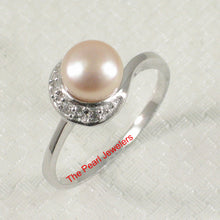 Load image into Gallery viewer, Solid Sterling Silver 925, White Cultured Pearl & Cubic Zirconia Cocktail Ring