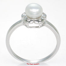 Load image into Gallery viewer, Solid Sterling Silver 925 Rhodium Finish, White Cultured Pearl & 5 C.Z Ring