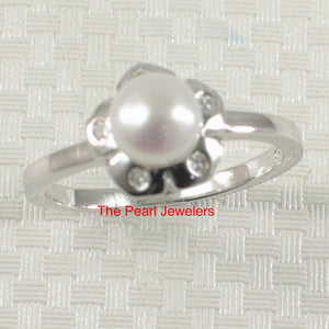 Solid Sterling Silver 925 Rhodium Finish, White Cultured Pearl & 5 C.Z Ring