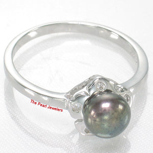 Solid Sterling Silver 925 Rhodium Plated Black Cultured Pearl Cocktail Ring