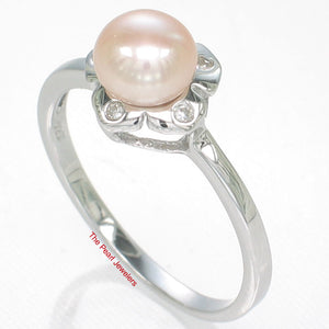 Solid Sterling Silver 925 Rhodium Plated Pink Cultured Pearl Cocktail Ring
