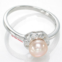 Load image into Gallery viewer, Solid Sterling Silver 925 Rhodium Plated Pink Cultured Pearl Cocktail Ring