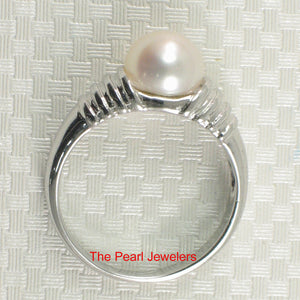 Solid Sterling Silver 925 Rhodium Plated F/W Cultured Pearl Solitaire Rings