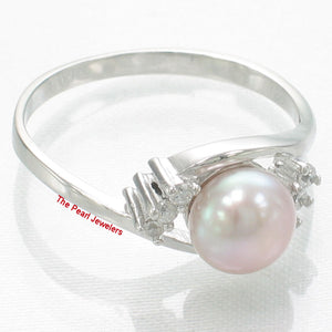 Solid Sterling Silver 925, Pink Cultured Pearl Cubic Zirconia Cocktail Ring