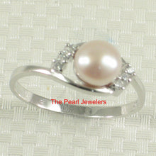Load image into Gallery viewer, Solid Sterling Silver 925, Pink Cultured Pearl Cubic Zirconia Cocktail Ring