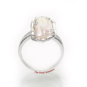 Genuine Natural White Biwa Pearl Ring set in 925 Solid Sterling Silver