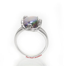 Load image into Gallery viewer, Black Genuine Biwa Pearl Ring set in Solid Sterling Silver .925