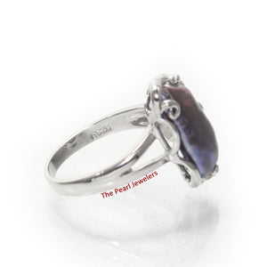 Black Genuine Biwa Pearl Ring set in Solid Sterling Silver .925