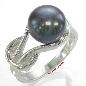 Solid Silver 925 Love Knot Design 9-10mm Black Cultured Pearl Solitaire Ring