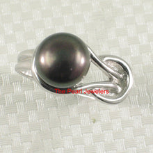 Load image into Gallery viewer, Solid Silver 925 Love Knot Design 9-10mm Black Cultured Pearl Solitaire Ring
