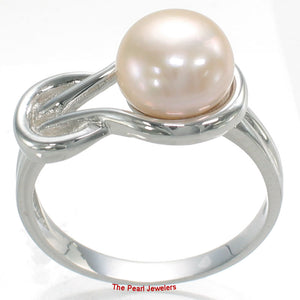 Solid Sterling Silver 925 Love Knot Design 9mm Pink Cultured Pearl Rings
