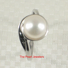 Load image into Gallery viewer, Solid Silver .925 Rhodium Finish White F/w Cultured Pearl Solitaire Ring