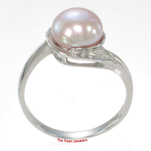 Solid Silver 925 Rhodium Plated 8-8.5mm Natural Lavender Cultured Pearl Ring