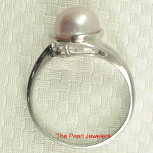 Load image into Gallery viewer, Solid Silver 925 Rhodium Plated 8-8.5mm Natural Lavender Cultured Pearl Ring