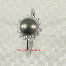 Load image into Gallery viewer, Solid Silver 925 Black Cultured Pearl Cubic Zirconia Tradition Cocktail Ring