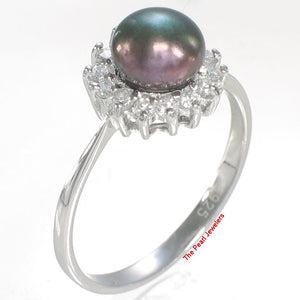 Solid Silver 925 Black Cultured Pearl Cubic Zirconia Tradition Cocktail Ring