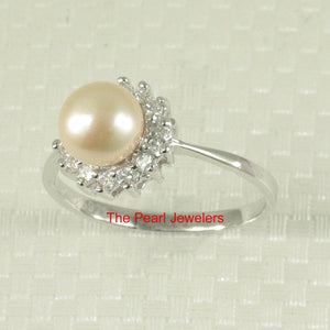 Solid Silver 925 Tradition Design Natural Pink Cultured Pearl C.Z. Ring
