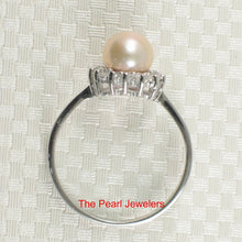 Load image into Gallery viewer, Solid Silver 925 Tradition Design Natural Pink Cultured Pearl C.Z. Ring