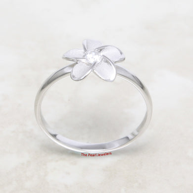 Hawaiian Jewelry 925 Sterling Silver Plumeria Flower Ring w Cubic Zirconia