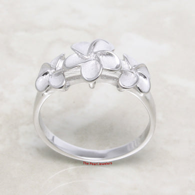 Solid Sterling Silver .925 Tradition Hawaiian Triple Plumeria Design Rings