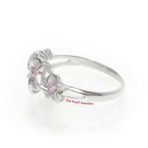 Silver 925 Rhodium Plated Hawaiian Three Plumeria Pink Cubic Zirconia Ring