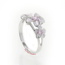 Load image into Gallery viewer, Silver 925 Rhodium Plated Hawaiian Three Plumeria Pink Cubic Zirconia Ring