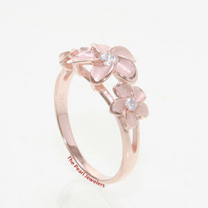 Pink Rose Gold Plated Silver 925 Hawaiian Three Plumeria Flower Ring White C Z