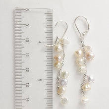 Load image into Gallery viewer, Solid Silver 925 O Chain Pale Mix Pearl Handcrafted Dangle Leverback Earrings