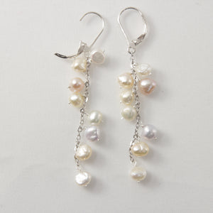 Solid Silver 925 O Chain Pale Mix Pearl Handcrafted Dangle Leverback Earrings