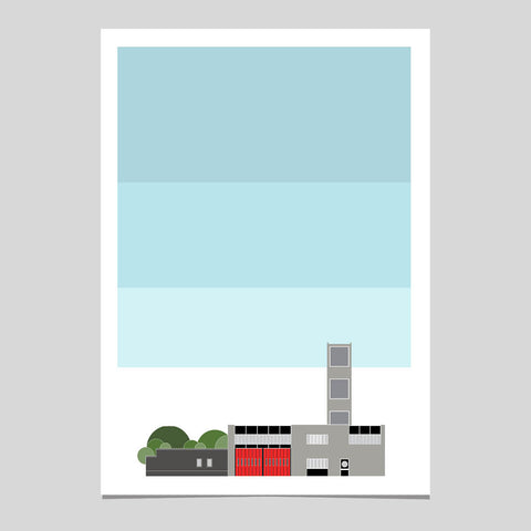 N16 Fire Station with Sky Art Print