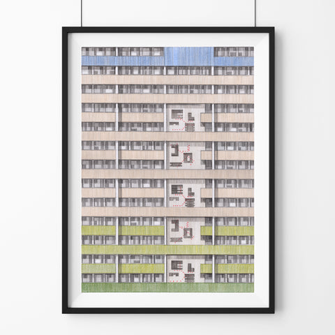 A3 Limited Edition of Hand Drawing - Beautiful Estate, Leytonstone - (50 only)